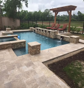 swimming pool with deck installed